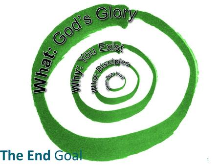 The End Goal 1. Church & Reproducible Church Planting Ministry 2.