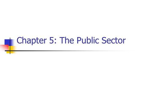 Chapter 5: The Public Sector. Economic and technical efficiency Technical efficiency – no unemployed or underemployed resources (i.e., operating on PPC).