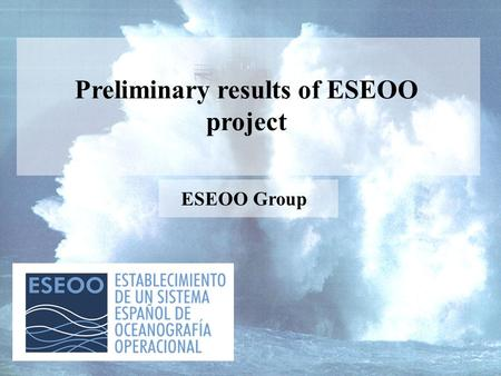 Preliminary results of ESEOO project ESEOO Group.