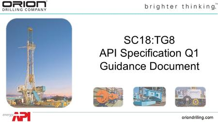 SC18:TG8 API Specification Q1 Guidance Document.