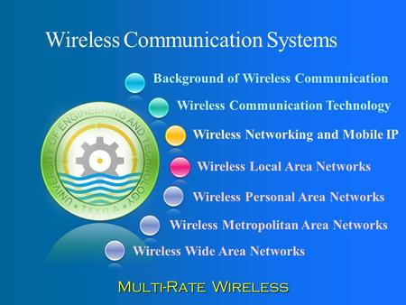 Background of Wireless Communication Wireless Communication Technology Wireless Networking and Mobile IP Wireless Local Area Networks Wireless Communication.