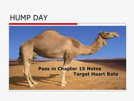 HUMP DAY Pass in Chapter 15 Notes Target Heart Rate.