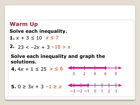 Warm Up Solve each inequality. 1. x + 3 ≤ x ≤ 7 23 < –2x + 3