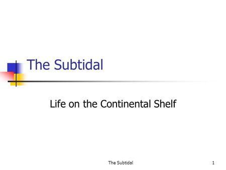 The Subtidal1 Life on the Continental Shelf. The Subtidal2 The Continental Shelf.