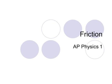 Friction AP Physics 1. Fun with Friction Friction is a force that resists the motion between two objects in contact with one another. For a fancier definition,