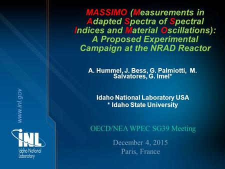 Www.inl.gov MASSIMO (Measurements in Adapted Spectra of Spectral Indices and Material Oscillations): A Proposed Experimental Campaign at the NRAD Reactor.