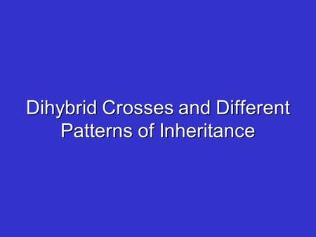 Dihybrid Crosses and Different Patterns of Inheritance.