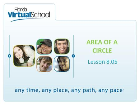 AREA OF A CIRCLE Lesson 8.05. Parts of a Circle Finding the Area Area means the amount of space covered. The symbol is called pi and is approximately.