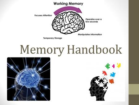 Memory Handbook Leslie Stamp. What is Memory? The power of the brain to remember things There are three basic processes: 1. Acquisiton- This is when we.