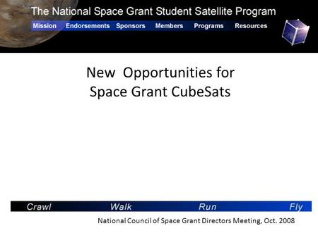 New Opportunities for Space Grant CubeSats National Council of Space Grant Directors Meeting, Oct. 2008.