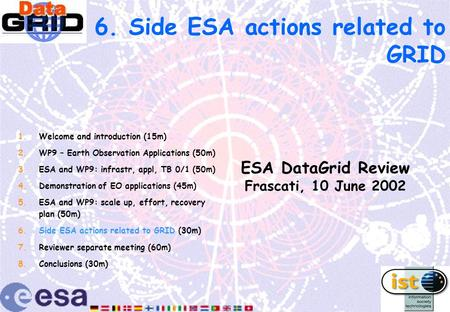 6. Side ESA actions related to GRID ESA DataGrid Review Frascati, 10 June 2002 1.Welcome and introduction (15m) 2.WP9 – Earth Observation Applications.