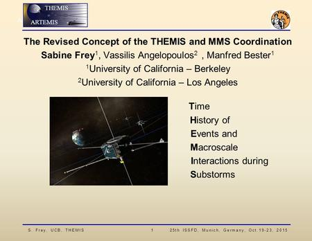 S. Frey, UCB, THEMIS 1 25th ISSFD, Munich, Germany, Oct.19-23, 2015 ARTEMIS THEMIS ARTEMIS The Revised Concept of the THEMIS and MMS Coordination Sabine.
