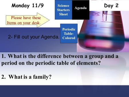 Monday 11/9 Day 2 Science Starters Sheet 1. Please have these Items on your desk. Agenda 2- Fill out your Agenda. 1.What is the difference between a group.