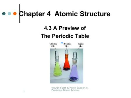 1 Chapter 4 Atomic Structure 4.3 A Preview of The Periodic Table Copyright © 2008 by Pearson Education, Inc. Publishing as Benjamin Cummings.