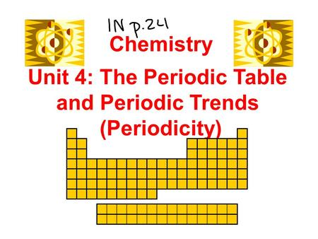 Unit 4: The Periodic Table and Periodic Trends (Periodicity) Chemistry.