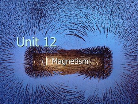 Magnetism Unit 12. Magnets Magnet – a material in which the spinning electrons of its atom are aligned with one another Magnet – a material in which the.