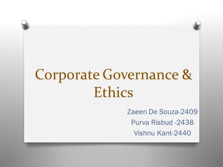 Corporate Governance & Ethics