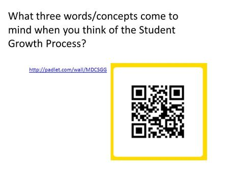 What three words/concepts come to mind when you think of the Student Growth Process?