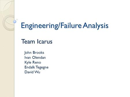Engineering/Failure Analysis