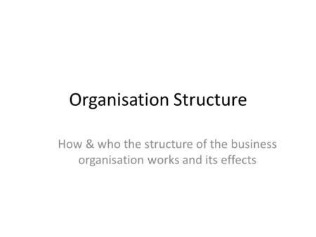 Organisation Structure How & who the structure of the business organisation works and its effects.