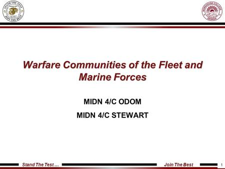 Warfare Communities of the Fleet and Marine Forces