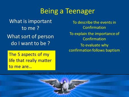 Being a Teenager What is important to me ? What sort of person do I want to be ? The 5 aspects of my life that really matter to me are… To describe the.