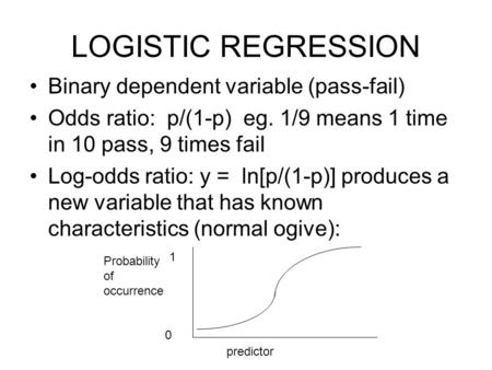 LOGISTIC REGRESSION Binary dependent variable (pass-fail) Odds ratio: p/(1-p) eg. 1/9 means 1 time in 10 pass, 9 times fail Log-odds ratio: y = ln[p/(1-p)]