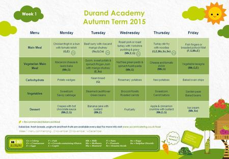 Durand Academy Autumn Term 2015 Salad bar, fresh breads, yoghurts and fresh fruits are available every day! For more info visit: www.accentcatering.co.uk/food.