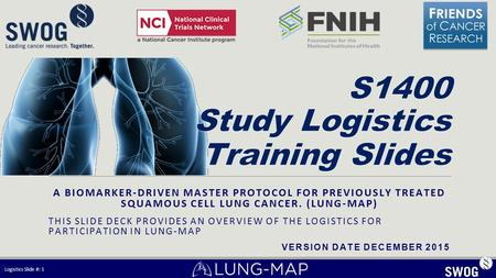 A BIOMARKER-DRIVEN MASTER PROTOCOL FOR PREVIOUSLY TREATED SQUAMOUS CELL LUNG CANCER. (LUNG-MAP) THIS SLIDE DECK PROVIDES AN OVERVIEW OF THE LOGISTICS FOR.