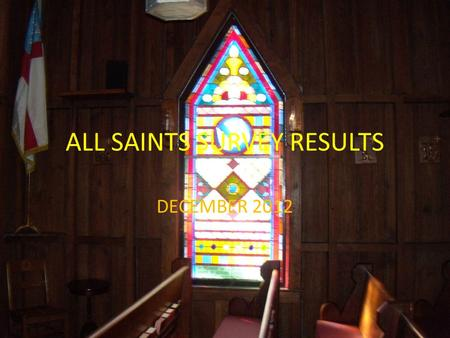 DECEMBER 2012 ALL SAINTS SURVEY RESULTS. 53% Survey Return Rate: