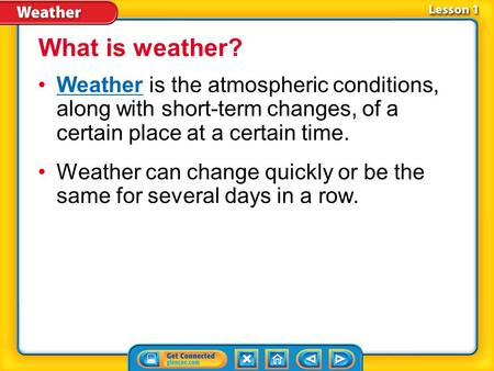 Lesson 1-1 Weather is the atmospheric conditions, along with short-term changes, of a certain place at a certain time.Weather Weather can change quickly.