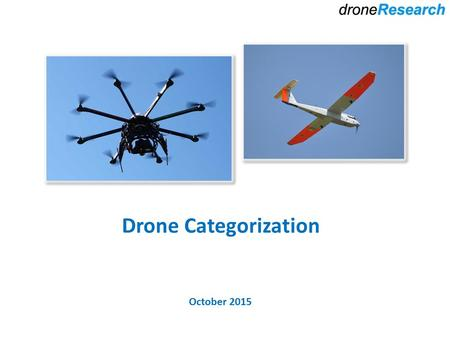 Drone Categorization October 2015. Outline Platforms Multi-rotor Fixed Wing Helicopter Baloon Simulators Power Systems Electric Gas/Nitro Proprietary.