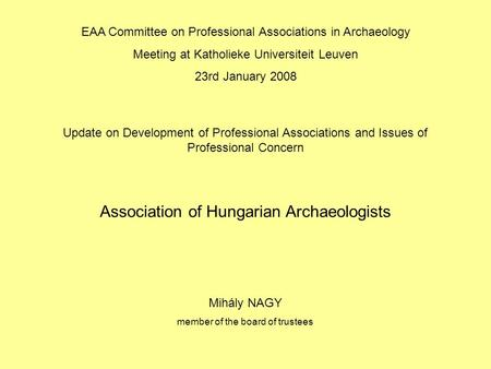 Association of Hungarian Archaeologists EAA Committee on Professional Associations in Archaeology Meeting at Katholieke Universiteit Leuven 23rd January.
