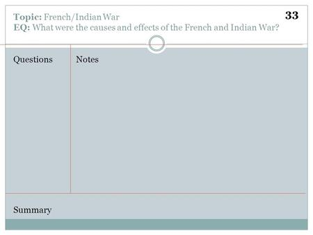 Topic: French/Indian War EQ: What were the causes and effects of the French and Indian War? QuestionsNotes Summary 33.