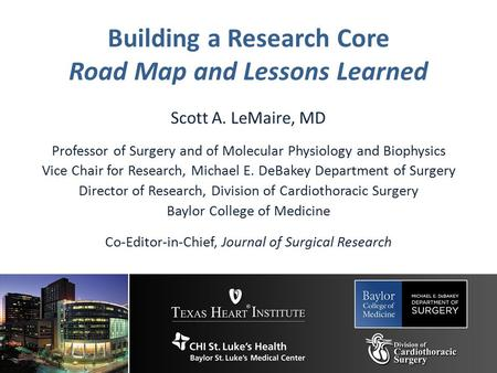 Building a Research Core Road Map and Lessons Learned Scott A. LeMaire, MD Professor of Surgery and of Molecular Physiology and Biophysics Vice Chair for.