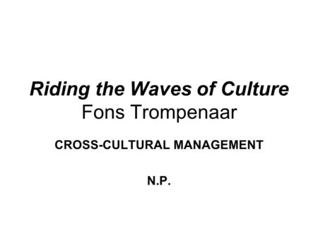 riding the waves of culture pdf