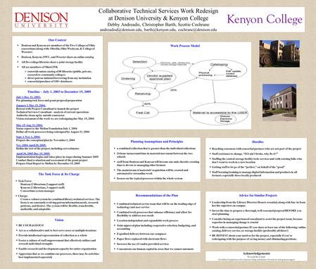 Collaborative Technical Services Work Redesign at Denison University & Kenyon College Debby Andreadis, Christopher Barth, Scottie Cochrane