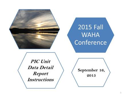 2015 Fall WAHA Conference September 16, 2015 PIC Unit Data Detail Report Instructions 1.