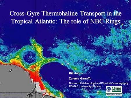 Cross-Gyre Thermohaline Transport in the Tropical Atlantic: The role of NBC Rings Bill Johns Zulema Garraffo Division of Meteorology and Physical Oceanography.