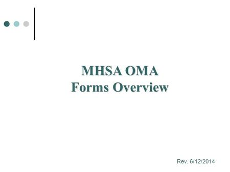 MHSA OMA Forms Overview Rev. 6/12/2014. Objectives – FSP Forms Learn about the history of MHSA and Outcomes Learn about the 3 types of forms and how they.