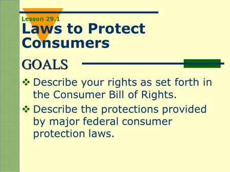 Lesson 29.1 Laws to Protect Consumers