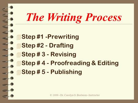 © 1999 - Dr. Carolyn O. Burleson - Instructor 4 Step #1 -Prewriting 4 Step #2 - Drafting 4 Step # 3 - Revising 4 Step # 4 - Proofreading & Editing 4 Step.
