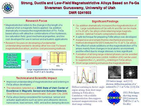 Strong, Ductile and Low-Field Magnetostrictive Alloys Based on Fe-Ga Sivaraman Guruswamy, University of Utah DMR 0241603 Technical and Scientific Impact.