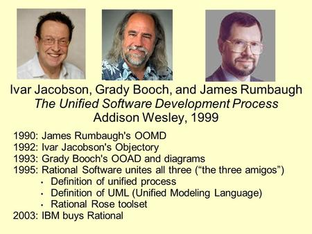 Ivar Jacobson, Grady Booch, and James Rumbaugh The Unified Software Development Process Addison Wesley, 1999 1990: James Rumbaugh's OOMD 1992: Ivar Jacobson's.
