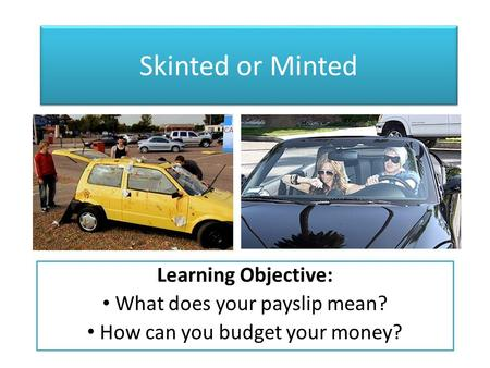Skinted or Minted Learning Objective: What does your payslip mean? How can you budget your money?