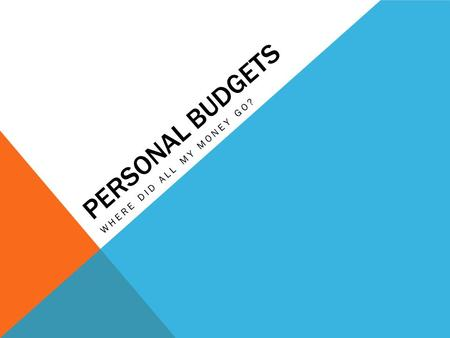 PERSONAL BUDGETS WHERE DID ALL MY MONEY GO?. QUESTION 1 What are some examples of things you do that are influenced by money?  Where you live  How you.