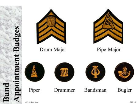 Band Appointment Badges 402.01 Red Star OHP - 1 Drum MajorPipe Major PiperDrummerBandsmanBugler.