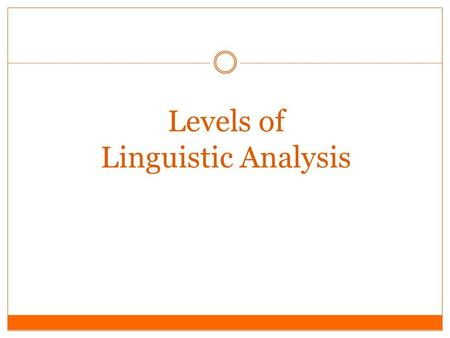 Levels of Linguistic Analysis. Introduction For Language study, areas marked and subdivided – it helps in analytic & systematic study Language has hierarchical.