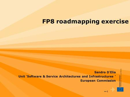 1 1 FP8 roadmapping exercise Sandro D'Elia Unit 'Software & Service Architectures and Infrastructures ' European Commission.