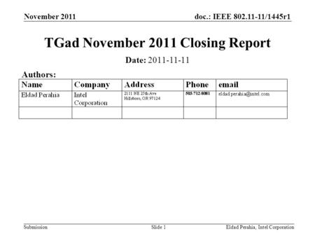 Doc.: IEEE 802.11-11/1445r1 Submission TGad November 2011 Closing Report November 2011 Eldad Perahia, Intel CorporationSlide 1 Date: 2011-11-11 Authors:
